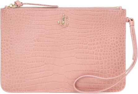 Jimmy Choo Fara croc-effect leather pouch