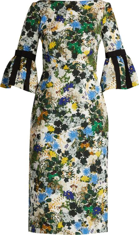 Erdem Alexandra meadow print matelassé dress