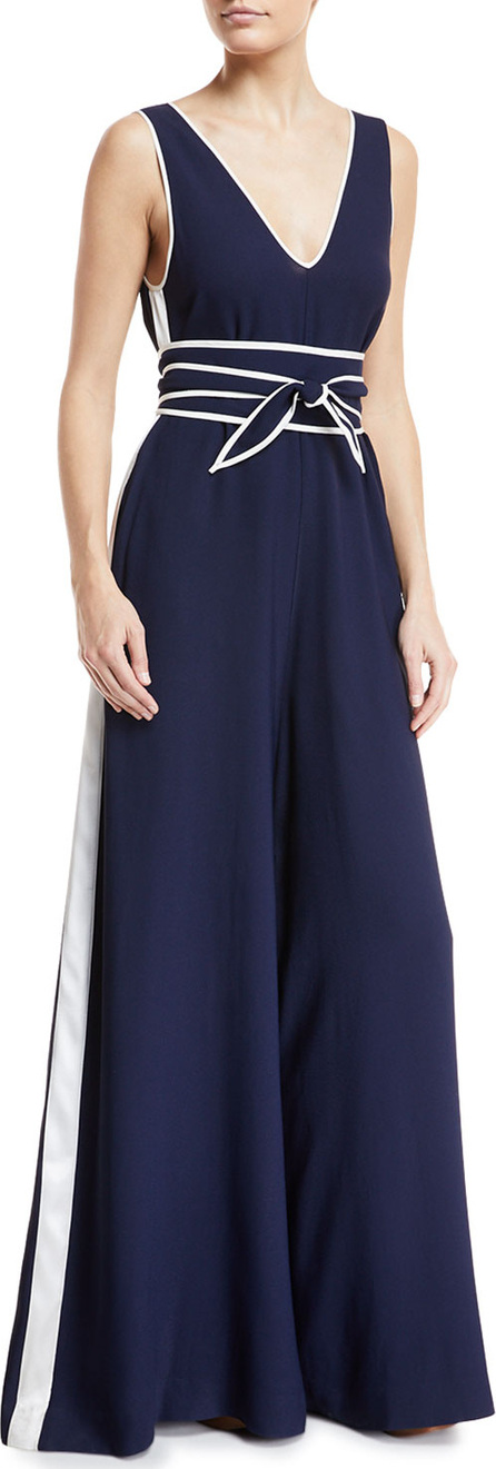 DIANE von FURSTENBERG V-Neck Sleeveless Wide-Leg Jumpsuit
