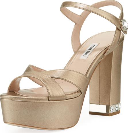 Miu Miu Chunky-Heel Napa Platform Sandals