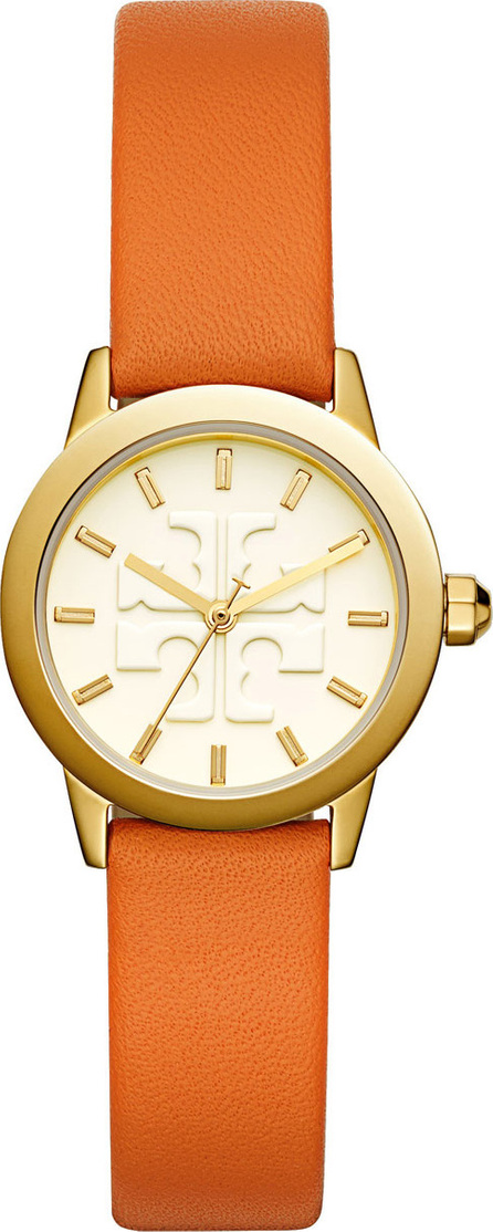 Tory Burch The Gigi Golden Watch with Orange Leather Strap