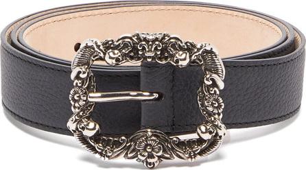 Alexander McQueen Skull-embossed buckle grained leather belt