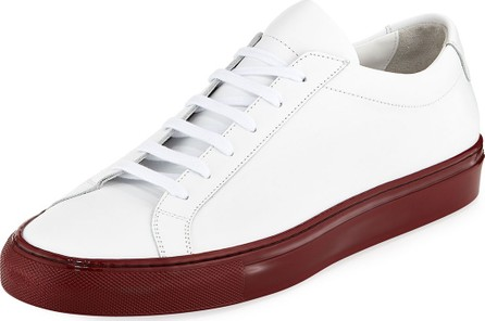 Common Projects Men's Achilles Leather Low-Top Sneakers with Shiny Sole, White/Red