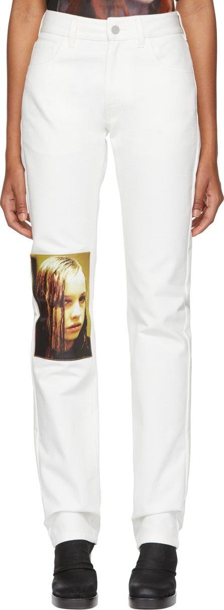 Raf Simons White Christiane F. Edition Wet Hair Patch Regular Jeans