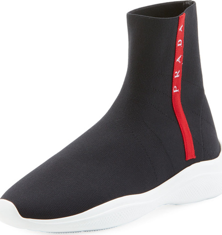 Prada High-Top Sock Knit Trainer Sneakers