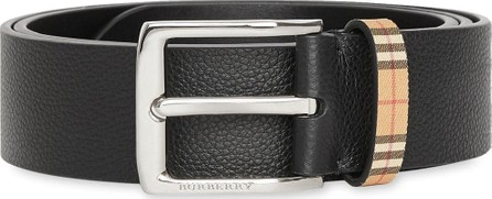Burberry London England Check Detail Grainy Leather Belt
