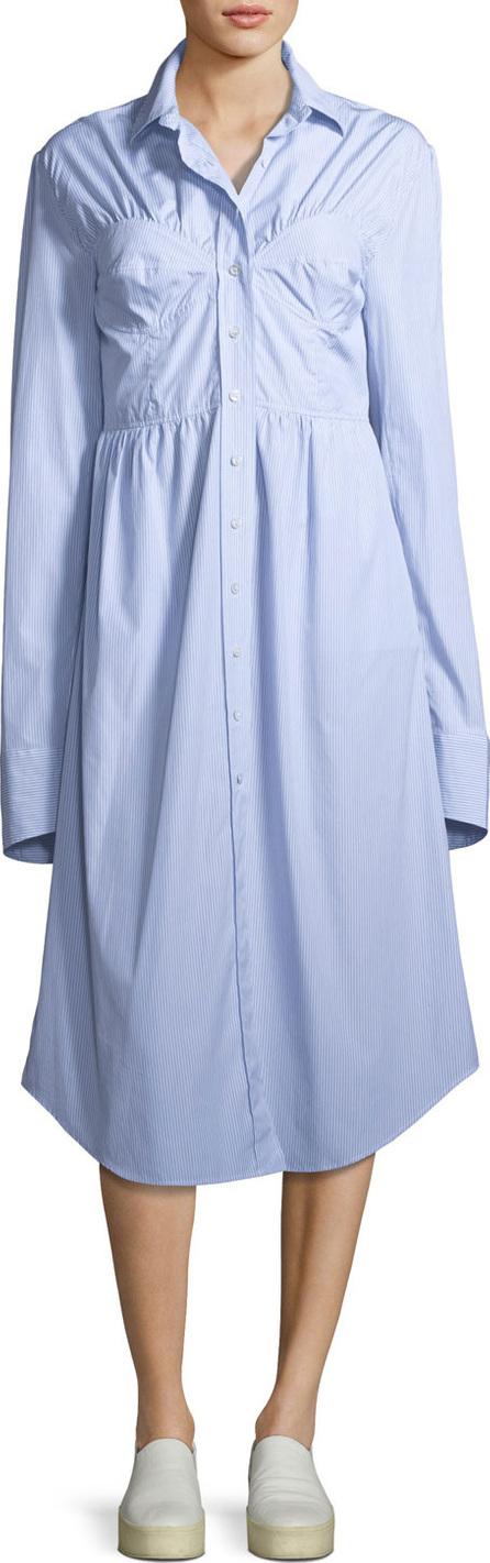 Alexa Chung Seamed Button-Down Striped Poplin Shirtdress