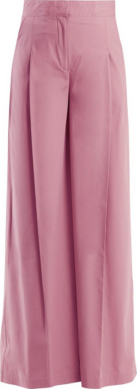 High-rise wide-leg cotton-blend trousers