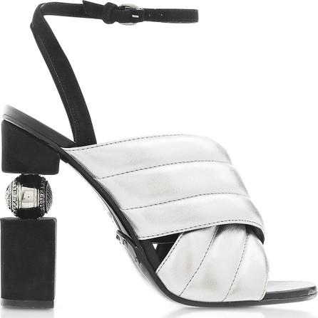 Balmain Jana Silver Laminated High Heel Sandals