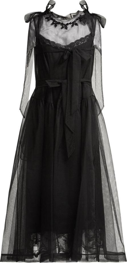 Simone Rocha Floral-bead tulle midi dress
