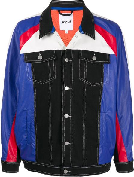KOCHÉ Colour-block denim jacket