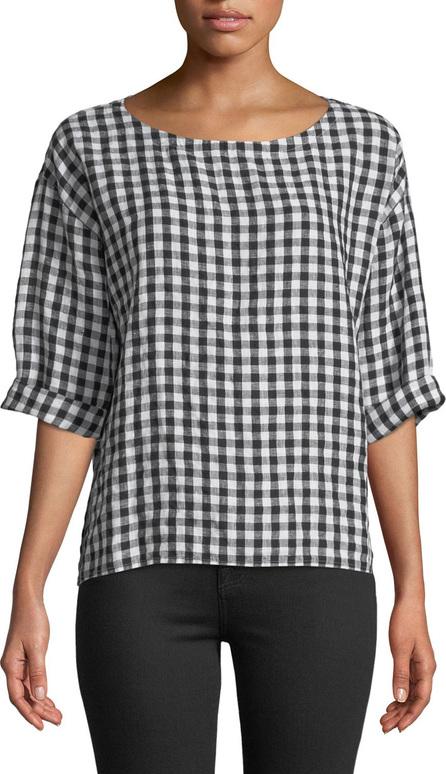 Eileen Fisher Organic Linen Gingham 3/4-Sleeve Top