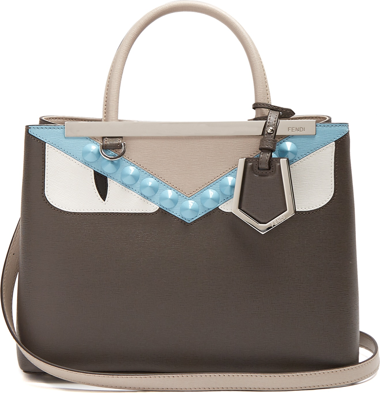 42bb01da2f Fendi Petite 2Jours Bag Bugs leather tote in Grey - mkt