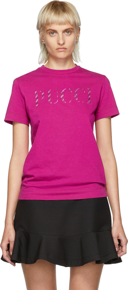 Emilio Pucci Pink Glitter Logo T-Shirt
