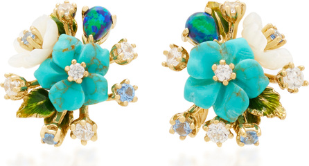 Anabela Chan 18K Gold Vermeil, Diamond and Turquoise Bouquet Earrings