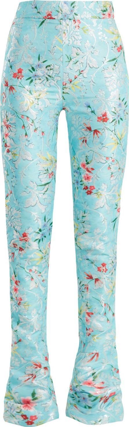 Halpern Floral-jacquard high-rise skinny trousers