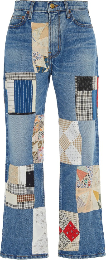 B Sides Arts Mid-Rise Straight-Leg Checkered Patchwork Jeans