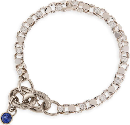 Oscar Heyman 18K White Gold Partial Diamond Watch Bracelet with Blue Sapphire Toggle