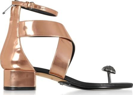 Balmain Rose Gold Laminated Leather Juliet Flat Sandals