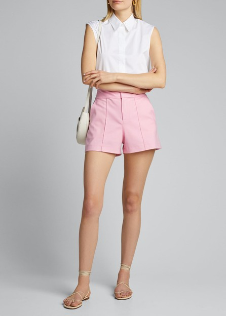 Alice + Olivia Dylan High-Waist Pintuck Shorts