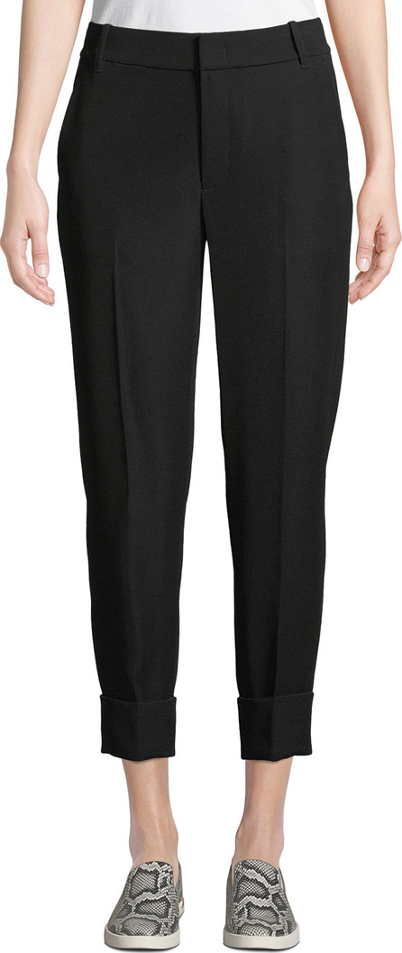 Vince Cuffed Straight-Leg Crepe Trousers with Coin Pocket