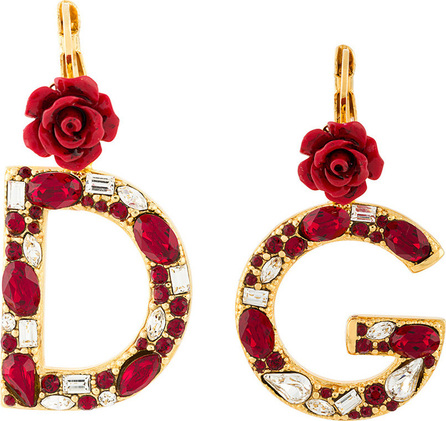 Dolce & Gabbana Crystal rose embellished DG earrings