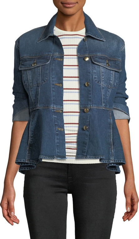 FRAME DENIM Button-Front Flounce Denim Jacket