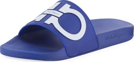 salvatore ferragamo mens gancini pool slide sandal blue