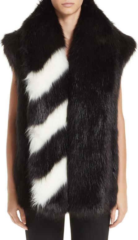 Off White Faux Fur Gilet Vest