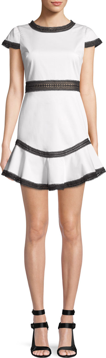 Alice + Olivia Rapunzel Curved-Hem Lace Trim Mini Dress