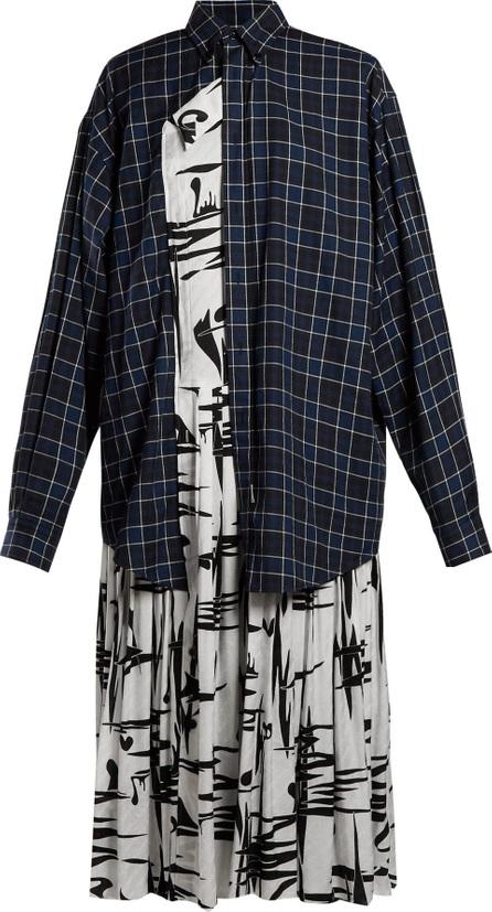 Balenciaga Layered cotton and silk shirtdress