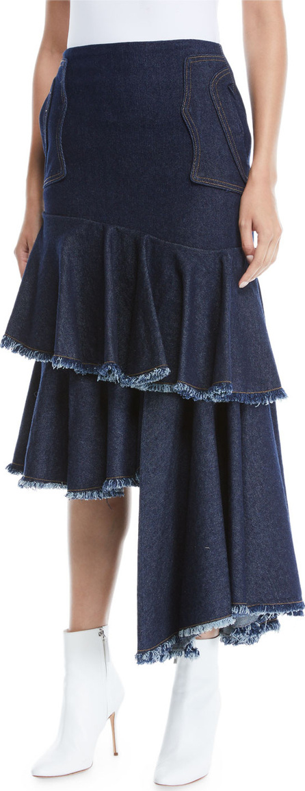 Johanna Ortiz Urban Legend High-Waist Asymmetric Denim Skirt w/ Cutoff Tiers