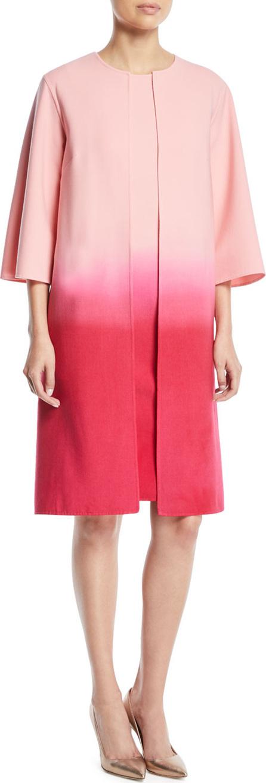 Oscar De La Renta Dip-Dye Ombre 3/4-Sleeve No-Closure Long Jacket