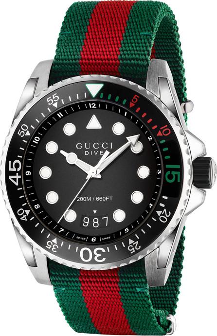 Gucci 45mm Gucci Dive Watch w/ Nylon Web Strap