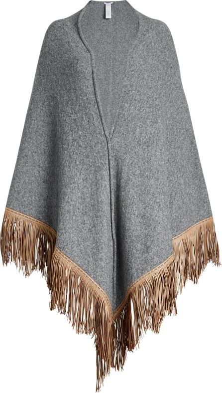 Agnona Fringed Cape with Wool and Camel Hair
