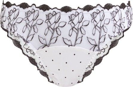 Fleur of England Floral-embroidered tulle and satin briefs