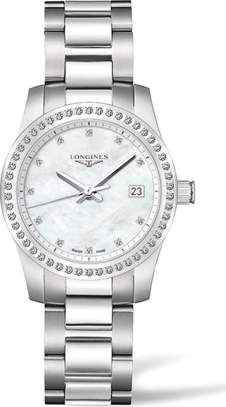 Longines Conquest Diamond, Mother-Of-Pearl & Stainless Steel Watch