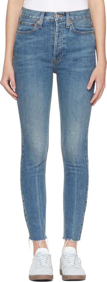 RE/DONE Blue Originals High-Rise Ankle Crop Stretch Jeans