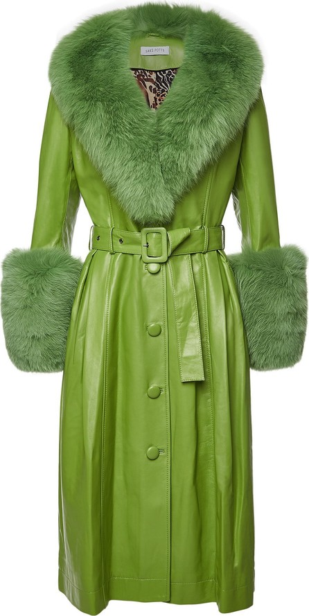 Saks Potts Foxy Forest Leather Coat with Fox Fur