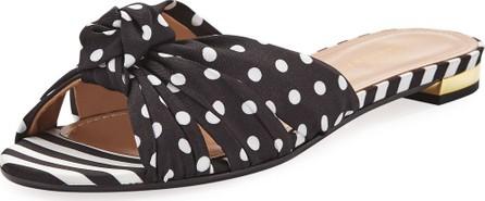 Aquazzura Menorca Polka-Dot Flat Slide Sandals