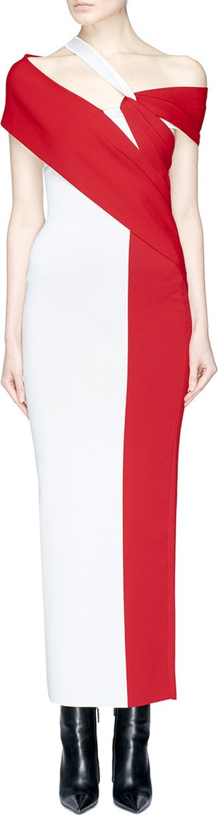 Haider Ackermann Twist drape colourblock one-shoulder knit dress