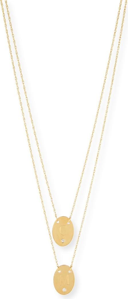 Jennifer Zeuner Jewelry Double Oval Disc Personalized Necklace