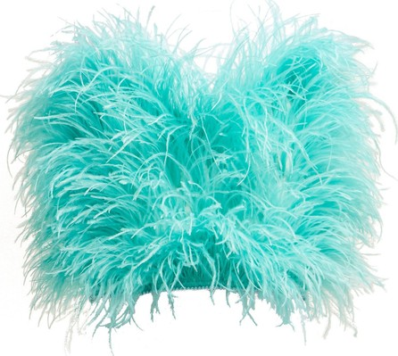 Attico Faux pearl-trimmed ostrich feather top