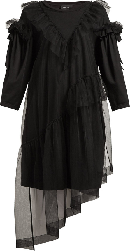 Simone Rocha Ruffled tulle-overlay cotton T-shirt dress