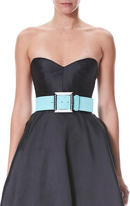 Carolina Herrera Block Buckle Suede Belt