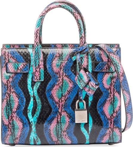 Saint Laurent Sac de Jour Nano Curvy Stripe Snakeskin Tote Bag