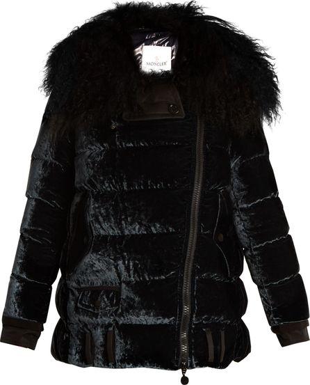 Moncler Isabelle shearling-trim quilted-velvet down coat