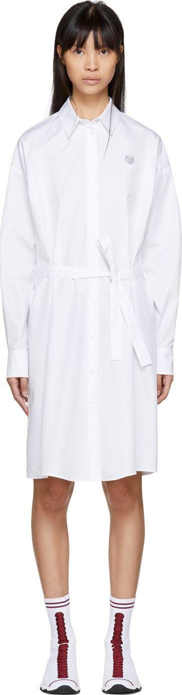 KENZO White Tiger Crest Shirt Dress