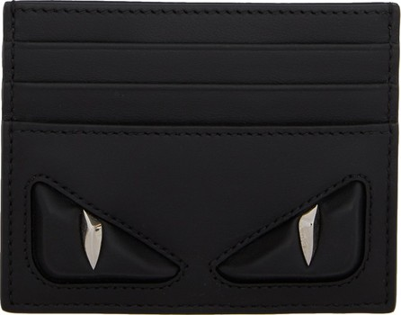 Fendi Black Embossed Bag Bugs Card Holder