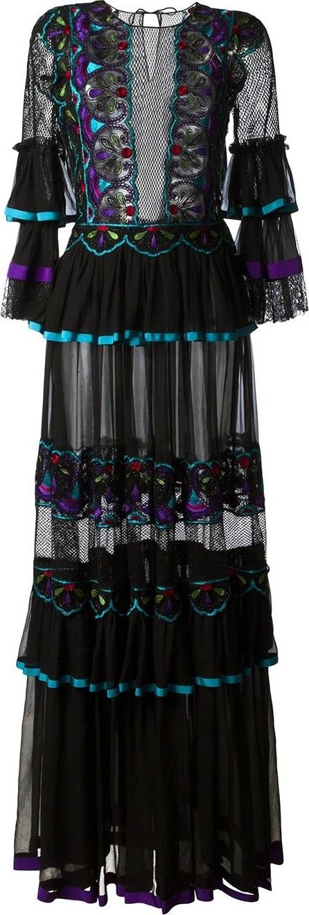 Alberta Ferretti embroidered panel dress